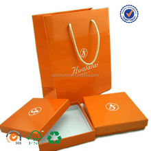 U color Customized yellow paper bag and box with logo embossed