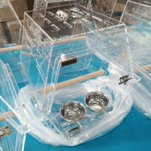 Import Acrylic Materials Bird Cage With Wood Stand and Metal Birds Bowls, Acrylic Parrot Display Birdcage design