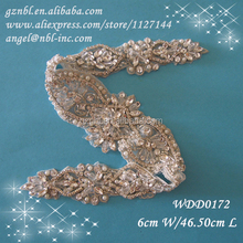wholesale bridal beaded rhinestone applique patch 0172