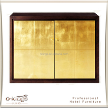 gold foil modern bar cabinet for hotel bar furniture commercial manufacturer