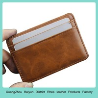 Mens Custom Business Credit Card Holders Personalized Slim Small Leather Minimalist Funny Money Clip Magic Wallet