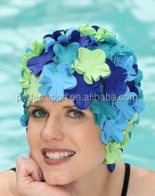 Original Flower Swim hat- Old Fashioned Retro Petal hat - Pastel Blue