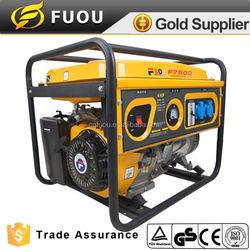 single phase single cylinder silent yellow 190F engine gasoline generator