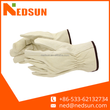 Durable white cowhide leather driving gloves
