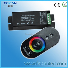 2015 RGB led touch controller RF remote DC 12-24v led strip 433 iron controller 3*6A total 18A