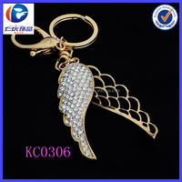 Hot Sale Cute white diamond wing 3D printing metal keychains