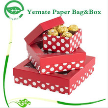 New Arrived decorative handmade custom size white spot red printing luxury chocolate boxes packaging