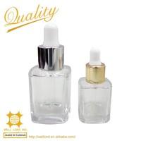 body oil chemical golden silvery dropper mini glass bottle