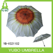 White flower heat-transfer printing safe manual open girls UV protected 3 foldable umbrella