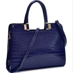 Women Blue Handbag Crocodile Shoulder Bag Briefcase Business Bag HOT ITEM