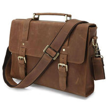 Top Quality Drop Shipping Top Grade Fashion Multifunction Vintage Crazy Horse Leather Men Leather Briefcase Satchel #6076B