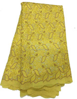 Yellow Swiss Voile Lace Exclusive Cotton Lace Fabric High Qualiy Italy/African Swiss Lace