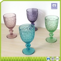 Wholesale banquet colored wine goblet glass cheap colored wine goblet