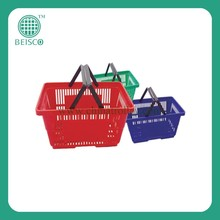 Supermarket Metal Plastic Handle Shopping Basket