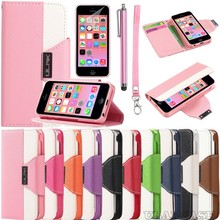 Hot selling Wholesale China Colorful Cheap Lanyard Stand Flip Leather Cover Case for iPhone 5C with Belt Clip