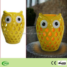 Ceramic owl with candle light for garden and home decoration