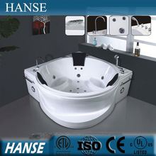 HS-B288 bathroom triangular jet whirlpool 3 person acrylic sitting bathtub