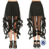 hot sell sexy women in short skirts two layer skirt with long mesh and lace trim