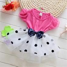 A129 Short Sleeve Summer Polka Dot Mesh Bow Wholesale Newborn Baby Birthday Dress