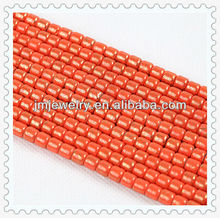 6*6 mm chinese element red bamboo joint glass bead