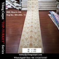 85x610cm double knotted wool silk turkish modern design handmade persian carpet runner