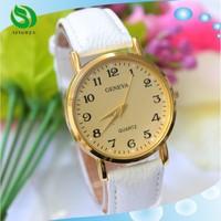 Hot Lady Women Rose Gold Gorgeous Bracelet Bangle Quartz Wrist Watch PU Leather Band