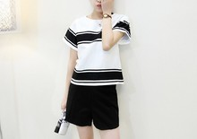D70563H 2015 Summer Korean Style women abdominal shorts two-piece suit maternity big Size for Pregnant lady