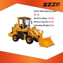 ZL-18 China mini 1.8 ton bucket wheel loader supplier