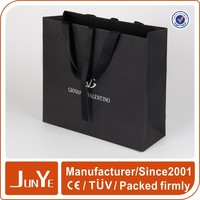 large size luxurious paper sliver foil printed black paper shopping bags with ribbon