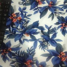 Printed blue/green flower 95% polyester 5% spandex taffeta fabric for garment