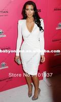 2013 Pageant Sexy Modest Kim Kardashian White Dresses Deep V-Neck Stylish Long Sleeve Mini Short Cocktail Dresses For Women