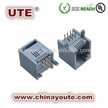 """Modular PCB Jack,RJ11 connectors, 6p6c 6P4C, 6u"""" Gold, Black, Side Entry"""