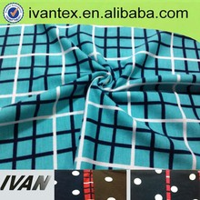 hot sale printing plaid polyester fabric for fashion dress