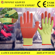 10g Cotton Liner Rubber Latex Coatted Working Gloves