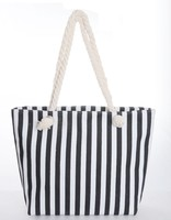 high quality sturdy cotton canvas fabric tote shopping bag with black and white stripes