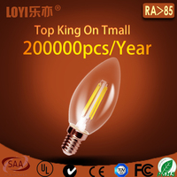 2015 Hot sales 220v ceramic glasscover led candle light with tail,led candle bulb