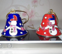"cloisonne enamel Christmas small jingle Bells 1.5"" cloisonne ornaments"