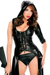 Black Sexy Leather Adult Sleeveless Skirt With Hood For Women Sexy Latex long Skirt With Hood