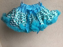 Baby Toddler Girls white and Turquoise Chevron Pettiskirt Tutu Skirt Fluffy Party