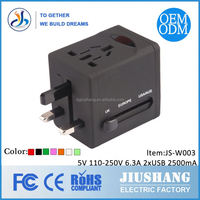 universal travel adapter with 2XUSB 2500MA charger(JS-W003)