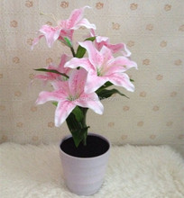 Hot sale 5Led light up fabric Lily flower