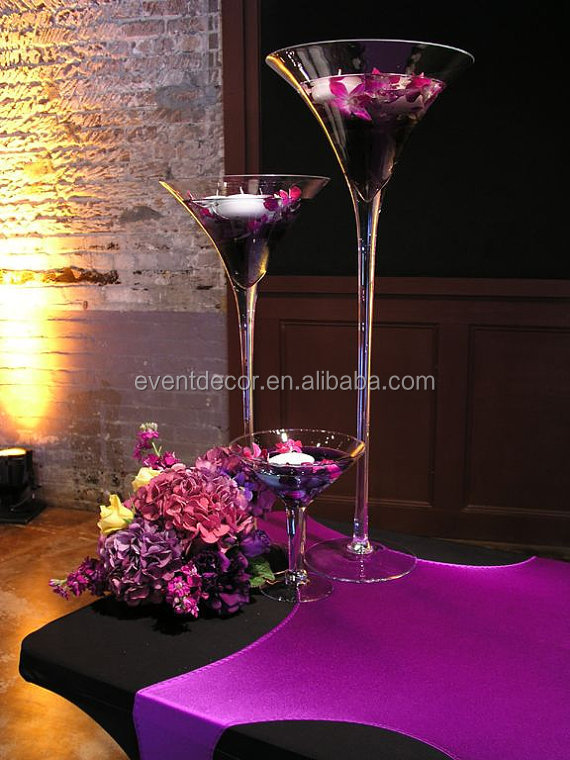 Wholesale martini glass vases centerpieces tall view