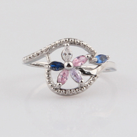 Factory Direct Foreign Trade Petal Hollow Zircon Index Finger Tat Ring