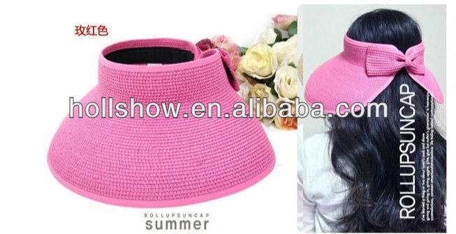 Wholesale Summer Folding Wide Brim Visor Women Ladies Sun Beach Straw Hat