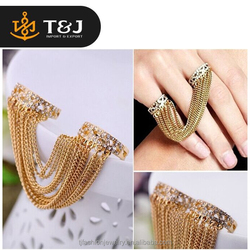 2015 fashion jewelry new design two finger gold plated ring long tassel ring women
