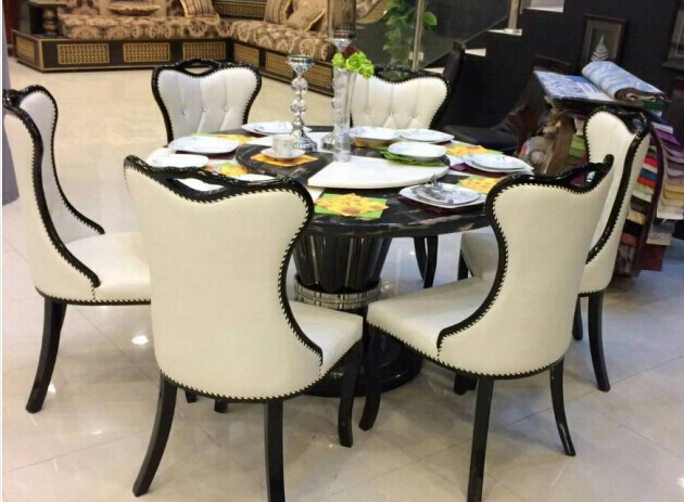 French Italian Style Dining Set,Round Dining Table With Marble Top ...