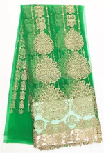 Cheap New York Design Wholesale Trim Lace, African Green/Gold Tulle Fabrics, French Embroidered Tulle Lace From China Supplier