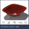 Modern design wash basin no faucet hole color can be changed tempered glass solid surface