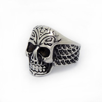 Fortunately death Exquisite Men Jewelry Round Fashion stainless steel Band Ring New Design Unique Titanium Finger Rings SA541