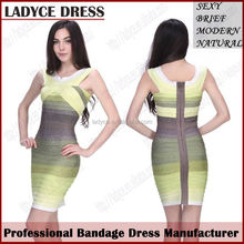 Western Style Yellow and Gray Gradient Party Bandage Dress Color combinations of Dresses
